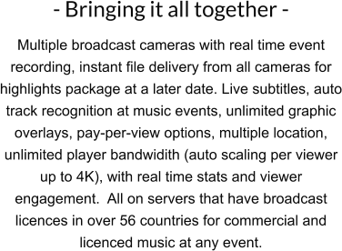 - Bringing it all together - Multiple broadcast cameras with real time event recording, instant file delivery from all cameras for highlights package at a later date. Live subtitles, auto track recognition at music events, unlimited graphic overlays, pay-per-view options, multiple location, unlimited player bandwidith (auto scaling per viewer up to 4K), with real time stats and viewer engagement.  All on servers that have broadcast licences in over 56 countries for commercial and licenced music at any event.
